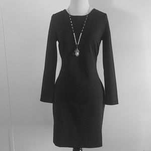 Banana Republic backwards V black LS dress 8P